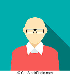 Bald man in a red sweater icon, flat style