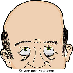 Cropped face of bald Caucasian man looking up