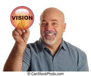 man pointing at button that says vision - bald man pointing...