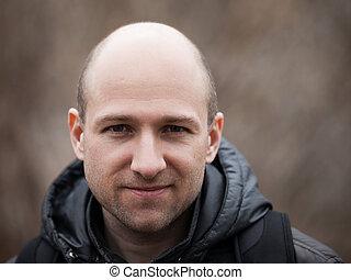 Bald man portrait