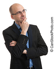bald man thinking - handsome bald man thinking and looking...