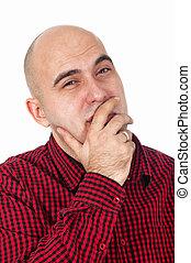 Bald man thinking