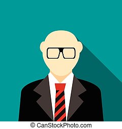 Bald man with a beard and glasses in suit icon