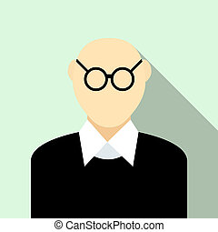 Bald man with glasses icon, flat style - icon in flat style...