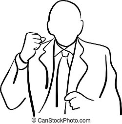bald manager is angry with showing his fist vector illustration sketch hand drawn with black lines isolated on white background