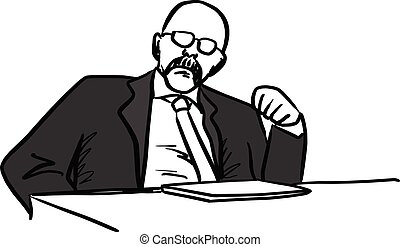 bald manager showing his fist vector illustration sketch hand drawn with black lines isolated on white background