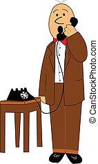 bald old man on phone