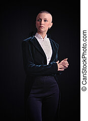 Bald woman in tailcoat