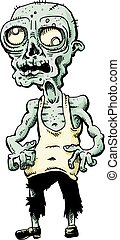 A withered, bald cartoon zombie with green skin and gnarled fingers.