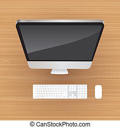Desktop all-in-one aluminium computer, top view - illustration
