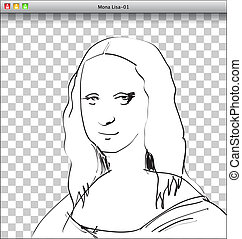 Balda Temp - Mona Lisa Sketch in DTP window. Vector