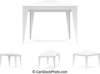 baldacchino, tenda, piegatura, bianco, o