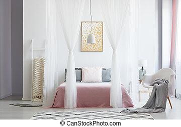 baldachin, stuhl, weißes, schalfzimmer
