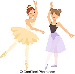 baldamen, ballerina, pige, vektor