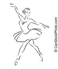 baldamen, skitse, vektor, ballet, kontur