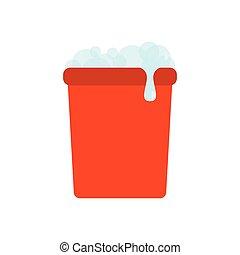 balde, colorido, ícone