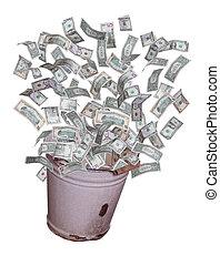 balde, dólares, voando, antigas, saída