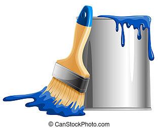 balde, de, pintura escova