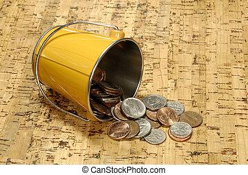 balde, dinheiro