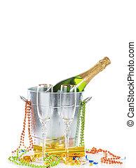balde, isolado, celebração, dois, fundo, ano, novo, branca, champanhe, feliz