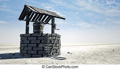 balde madeira, poço, desejando, paisagem estéril