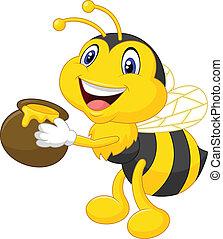 balde mel, caricatura, segurando, abelha