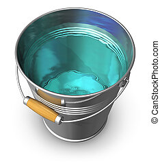 balde metal, cheio, de, água clara
