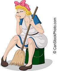 balde, vassoura, mulher, cansadas, sentando