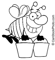 baldes, carregar, esboçado, abelha, dois