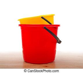 baldes, plástico, dois, chão
