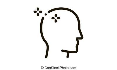 Baldheaded Man Icon Animation. black Baldheaded Man animated icon on white background