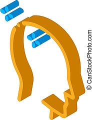 baldheaded, pictogram, illustratie, man, isometric, vector