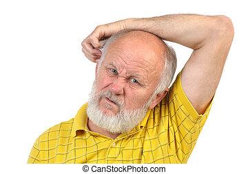 balding senior man skratching his other ear
