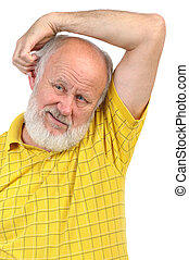 balding senior man skratching his other ear
