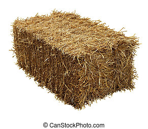 Bale Of Hay - Bale of hay isolated on a white background as ...