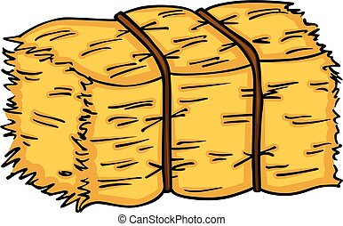 Scalable vectorial image representing a bale of hay, isolated on white.