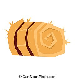 Bale of hay. Vector illustration with a dry taive for animals. Isolated hay.