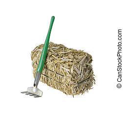 Bale of hay with a Rake