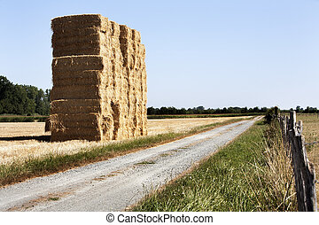Bale of haystack and a dirt road