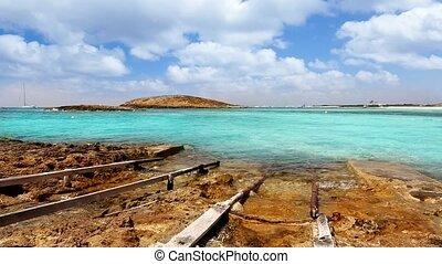 Balearic formentera island Illetes Illetas beach with...