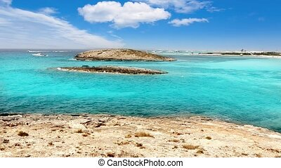 Balearic formentera island Illetes Illetas beach with turquoise paradise water and islets