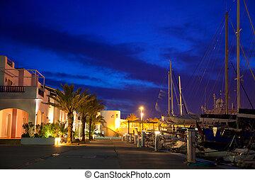 Balearic Formentera marina in night lights
