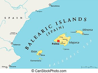 Balearic Islands political map