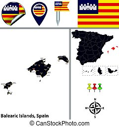 Balearic Islands, Spain - Vector map of Balearic Islands...