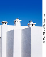 Balearic Mediterranean white houses with seagull in chimneys