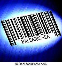 Balearic Sea - barcode with futuristic blue background