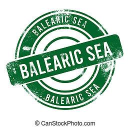 Balearic Sea - green round grunge button, stamp