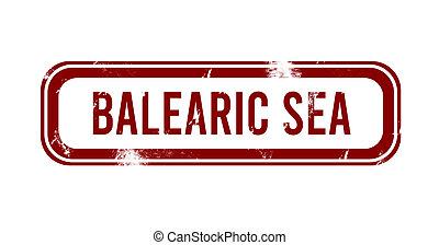 Balearic Sea - red grunge button, stamp