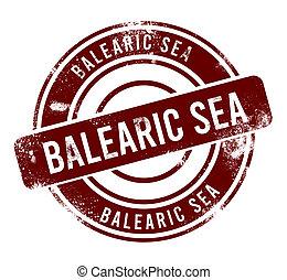 Balearic Sea - red round grunge button, stamp
