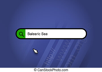 Balearic Sea - search engine, search bar with blue background